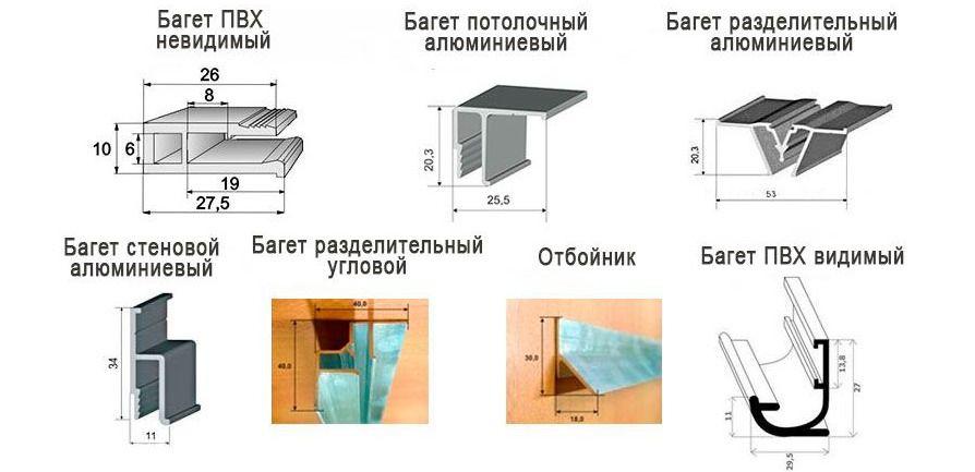 Виды багета (профиля) для натяжных потолков